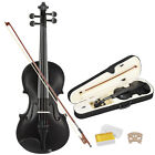 4/4 Full Size Violin Handed Natural Acoustic Fiddle w/case Bow Black  Beginner
