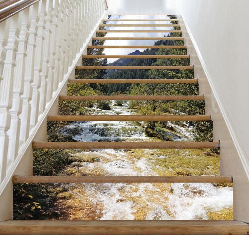 3D Stream-Baum 715 Stair Risers Dekoration Fototapete Vinyl Aufkleber Tapete DE