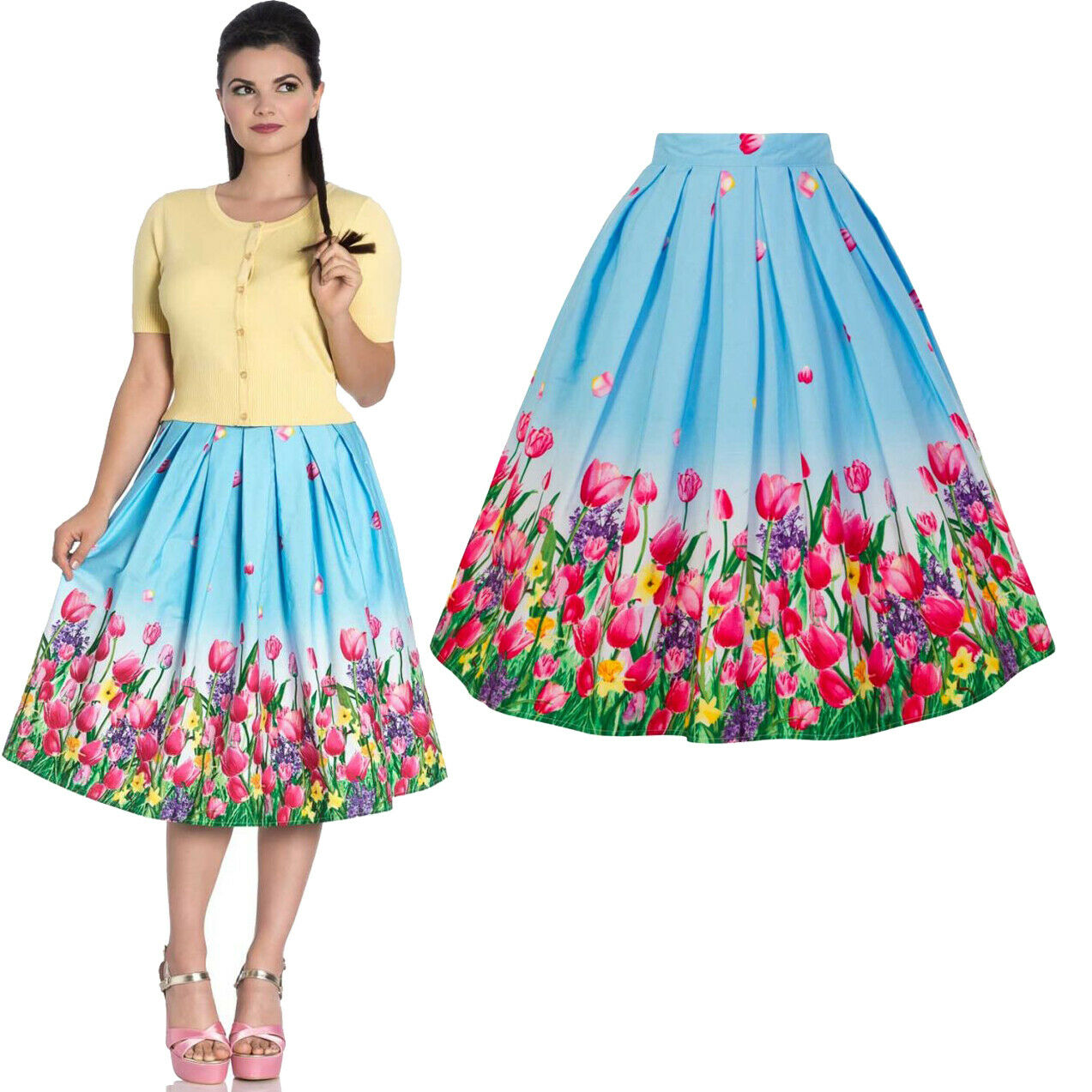 Circle SKIRT 16 14 12 10 8 - bluee Circle Tulip Floral Retro 1950s Vintage style