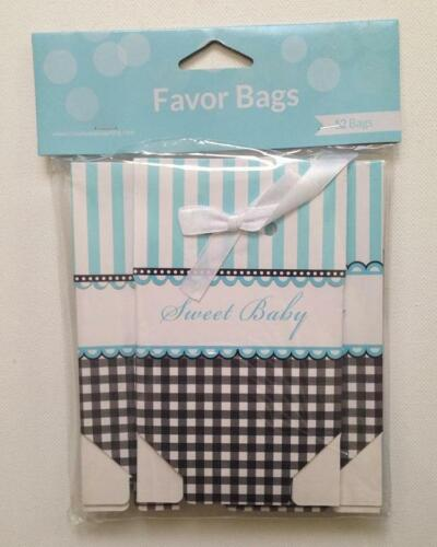 12 Pack Blue MINI BOXES Foldover w// Ribbon *SWEET BABY* SHOWER FAVOR BAGS