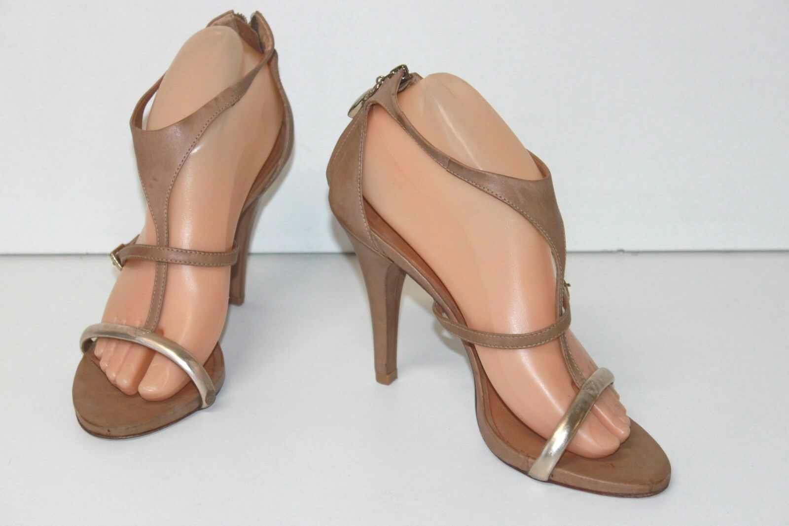 MARCO Sandals All Leather Beige Thongs Fine High Heels T 39 VERY GOOD CONDITION