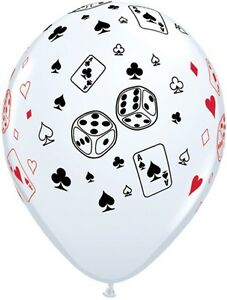 """25 x Casino Party Night Decoration 11"""" White Cards and Dice Latex Balloons"""