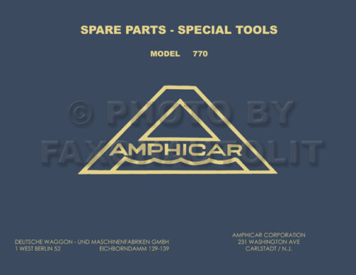 1961-1967 Amphicar Master Parts Book Catalog Illustrated Manual