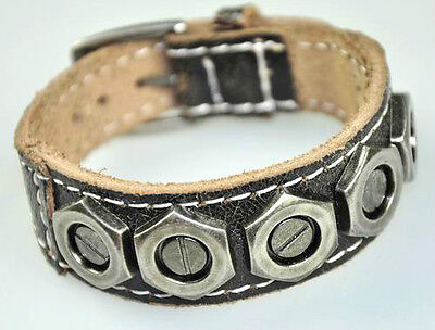 MEN'S COOL METAL HEXAGRAM STUDS GENUINE LEATHER BRACELET WRISTBAND BLACK/ BROWN