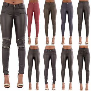 b101bce43d4 Details about Womens High Waist Leather Look Skinny Fit Stretchy Trousers  Leggings Size 6-20