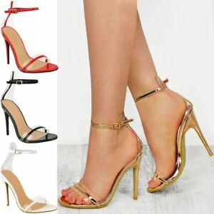 e32bca99ef4 Womens Ladies Clear Perspex Barely There High Heel Party Sandals ...