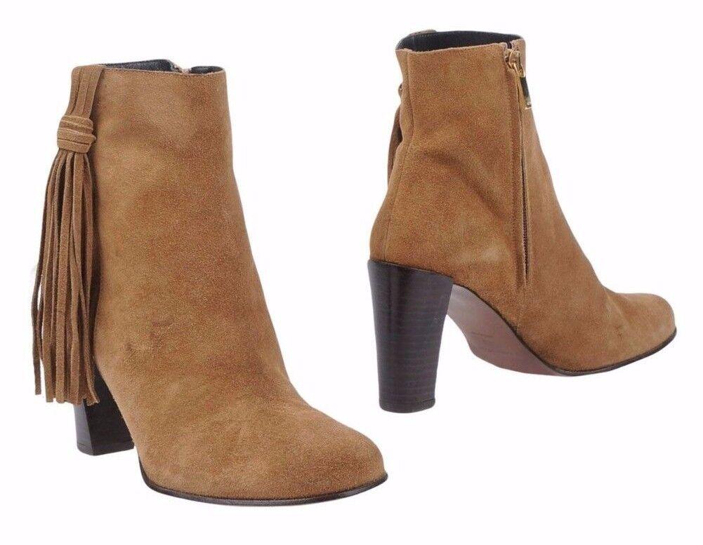 Karen Millen Tan Tassel Leather Zip Heeled Suede Ankle Smart Dress Stiefel 4 to 7