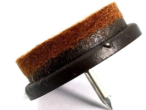 FELT PAD FLOOR GLIDES 25mm brown slide pads nail on chair table legs 100