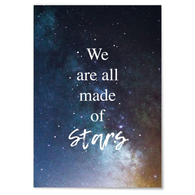 """JUNIWORDS Poster /""""We are all made of Stars./"""" Zitat Spruch Geschenk DIN A4 A3"""
