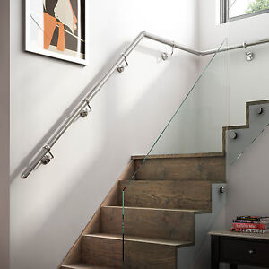 Image Is Loading 3 6mtr Chrome Metal Wall Mounted Handrail Banister