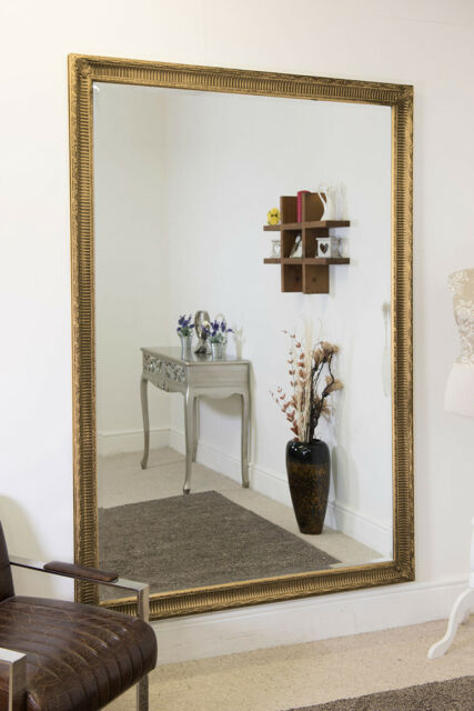 Extra Gold Silver Antique Wood Wall, Extra Large Wall Mounted Full Length Mirror