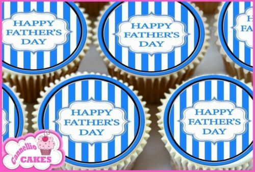 FATHERS DAY BLUE /& WHITE STRIPE EDIBLE CUPCAKE TOPPERS DECORATIONS CAKE 8760