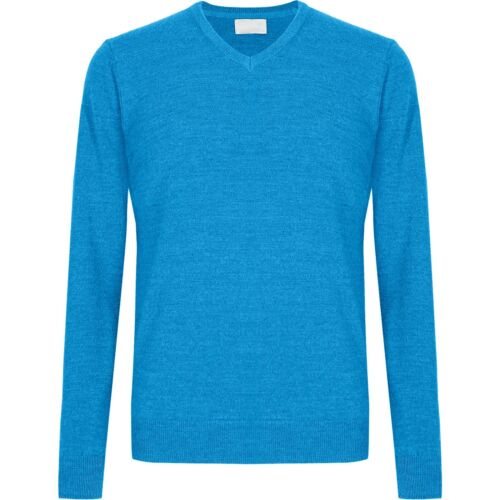 Mens Brave Soul Knitted V Neck Jumpers Fishermans Long Sleeve Wool Mix Knit