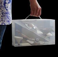 20x Clear Shoe Boxes Shoe Storage Shoe Box Shoe Organiser Transparent Plastic