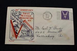 Patriotic-Cover-1945-Macchina-Cancel-100TH-Anniv-di-il-Telegraph-Fleetwood-2405