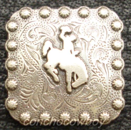"WESTERN HORSE SADDLE TACK ANTIQUE BRONCO RIDER BERRY SQUARE CONCHO 1/"" SCREW BACK"