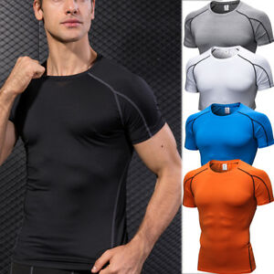 Men-039-s-Athletic-Workout-Gym-T-shirts-Compression-Tight-fit-Wear-Quick-dry-Tops