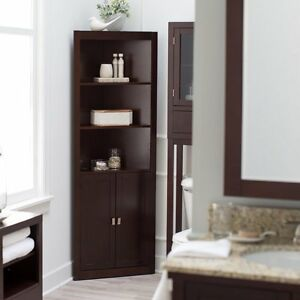 Shelf Corner Brown Linen Tower Cabinet