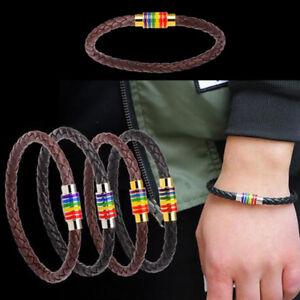Titan-Stehlen-Magnet-Regenbogen-Flagge-Pride-Charm-gay-Leather-Armband-4-Farbes