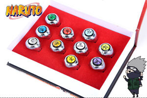 New-10-PCS-Anime-NARUTO-AKATSUKI-MEMBER-039-S-RING-SET-WITH-BOX-COSPLAY-Kids-Gifts