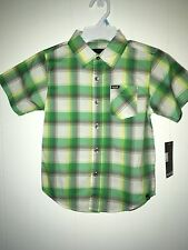 Hurley Kids Green Plaid Short Sleeve Shirt Size 5 NWT Boys