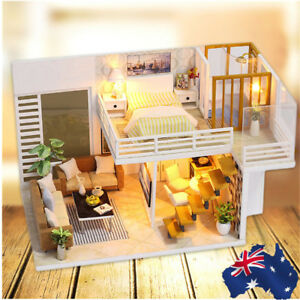Miniature Doll House Mini Wooden Dollhouse w/LED Lights Furniture DIY Kit Gifts 727629426119