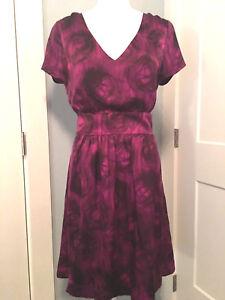 Banana-Republic-Sz-12-Large-Sheath-Dress-Purple-Silk-Brushstroke-Floral-110