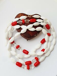 Vintage Art Deco Clear Red White Shaped Glass Necklace Flapper length