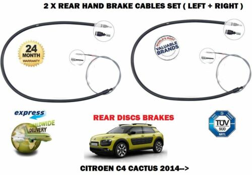 FOR CITROEN C4 CACTUS 1.2 1.6 HDI 2014-/> 2X REAR LEFT RIGHT HAND BRAKE CABLE SET