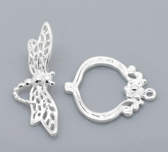 10 Sets Silver Plated Dragonfly Flower Toggle Clasps 21mmx18mm 28mmx10mm
