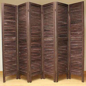 Brown 6 Panel Wooden Slat Room Divider Home Privacy Screen Separator Partitio