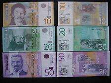 SERBIA  10 + 20 + 50 Dinara 2011  (P54a + P55a + P56a)  UNC