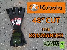 "(3) Mower Blades KUBOTA KOMMANDER 48"" K5575-34330 K5575-97530 ZG2048 11/16"" Hole"