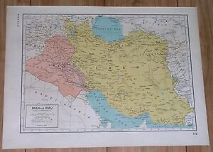 1944 ORIGINAL VINTAGE MAP OF IRAN IRAQ KUWAIT / VERSO BRITISH INDIA