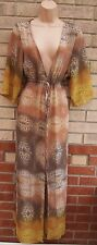 BOHEMIAN BROWN YELLOW LEOPARD BELTED V NECK KIMONO CAPE LONG MAXI DRESS 10 12
