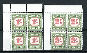Australia 1958 1s and 1960 2s  Postage Dues MH marginal blocks of 4
