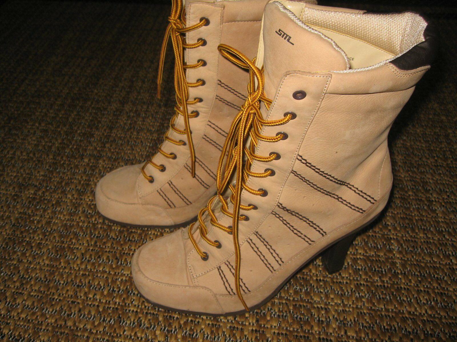"""STEVE MADDEN,3"""" High &Med.(B,M) Mid Calf Boots, Suede Leather,Beige, SZ.6.5 US."""