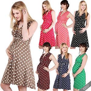 Maternity-Clothing-Pregnancy-Polka-Dot-V-Neck-Dress-Stretch-Pleated-Skirt-Summer