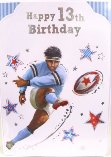 """Boy/'s /""""13 th Rugby Themed/"""" Birthday Cards"""