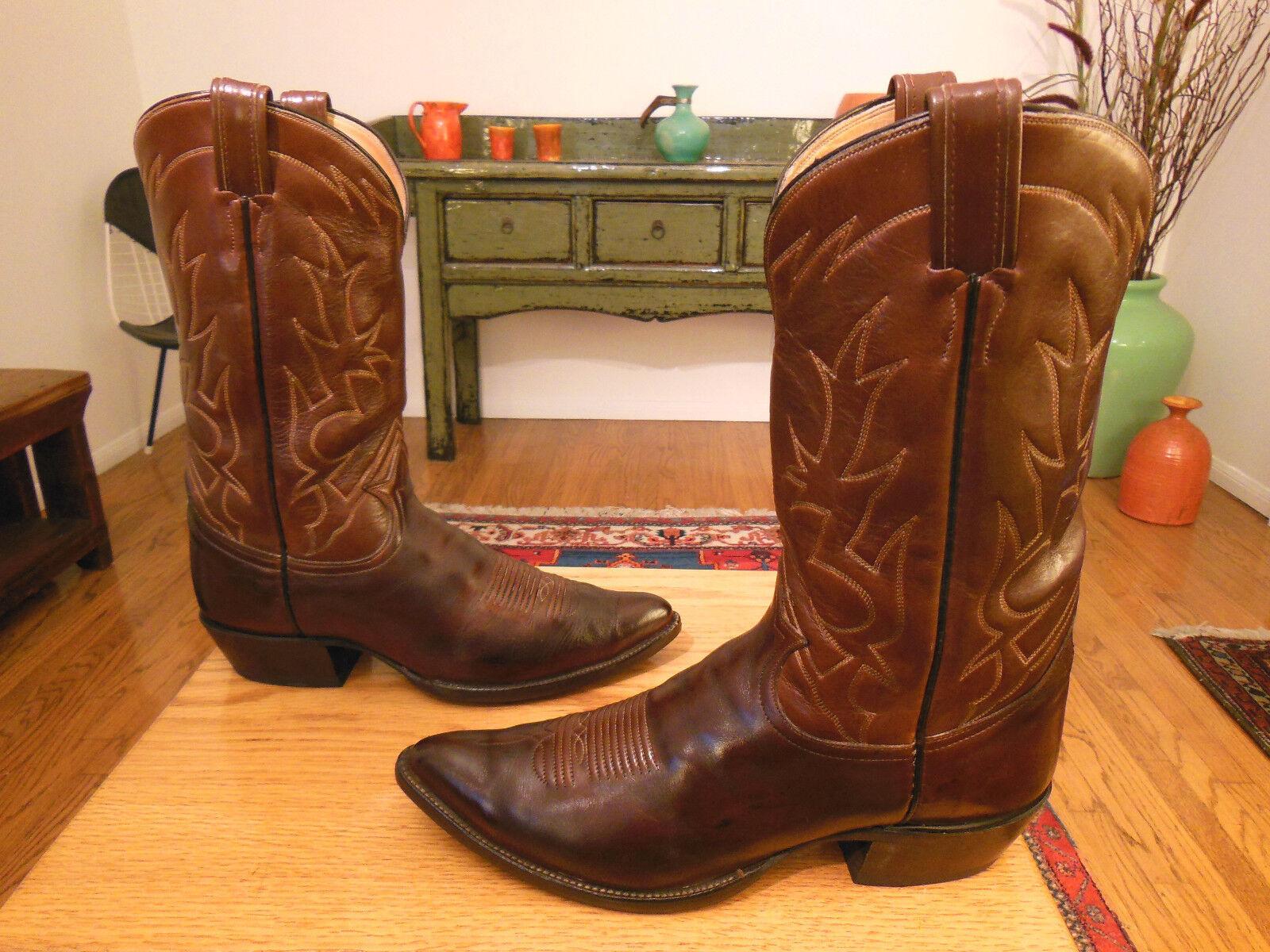 Vtg 70s/80s Brown/Med. TONY LAMA Dk. Brown/Med. 70s/80s Brown Pelle Western Cowboy Stivali 10B  A 89bd27