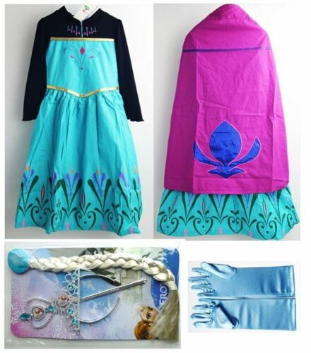 NEW FROZEN ELSA DRESS CAPE COSTUME CORONATION GOWN TIARA CROWN BRAID WAND GLOVE