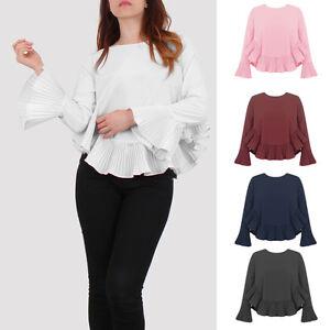 cf669dec3b967 Ladies Long Sleeves Top Pleated Ruffle Sleeves Bottom Blouse A Line ...
