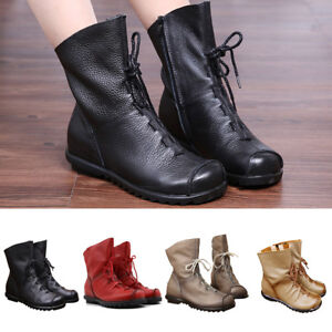 240237feb1af Retro Womens Fall Genuine Leather Martin Ankle Boots Low Heel Warm ...