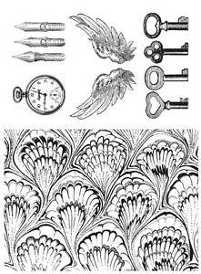 Unmounted rubber stamps Vintage set Clock, Wings, Keys designed by JudiKins