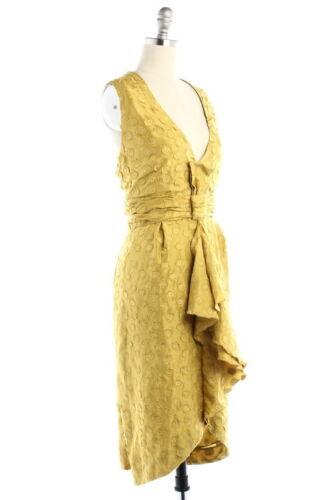BHLDN Anthropologie Quillaree Silk Yellow Tethered Dots Dress NWOT Size 6 $300