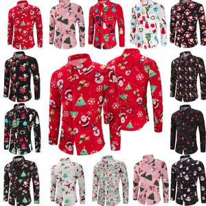 Men-039-s-Luxury-Snowflakes-Santa-Candy-Printed-Christmas-Party-T-Shirt-Tops-Blouse