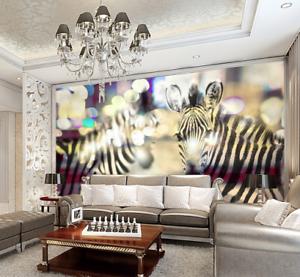 3D Hazy Cute Zebras 9 Wall Paper Murals Wall Print Wall Wallpaper Mural AU Kyra