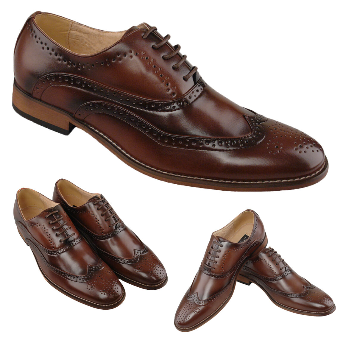 Mens Leather Lined shoes Lace Up Smart Suit Wedding Brogues 6 - 12