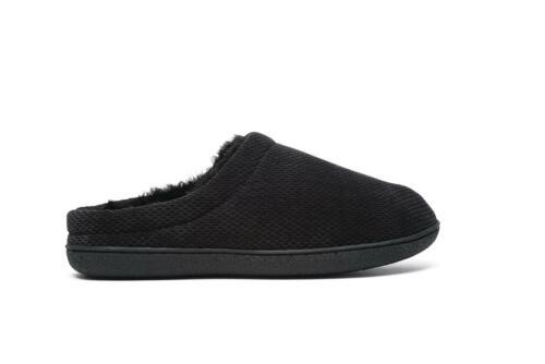 New Mens Dr Keller Rufus Slip On Fur Lined Black Slippers Size 7 8 9 10 11