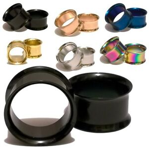 Pair-Double-Flared-Titanium-Stainless-Steel-Ear-Tunnels-Plugs-Gauges-Earrings